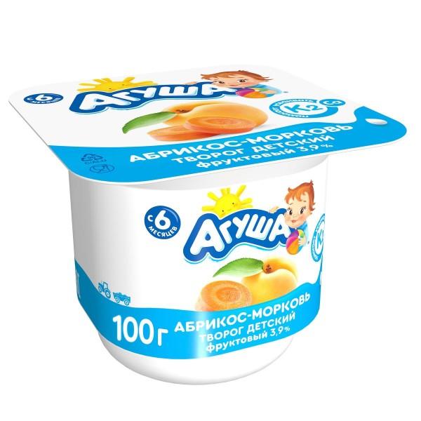 Творог фруктовый Агуша 3,9% 100гр абрикос-морковь БЗМЖ