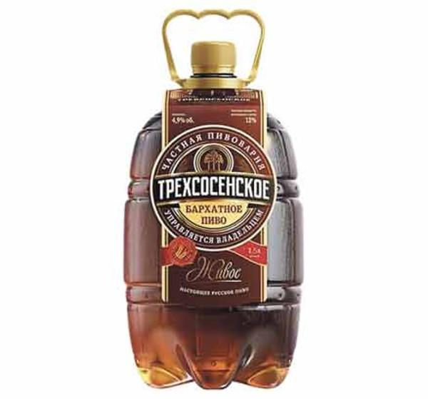 Пиво темное Трехсосенское бархатное живое 4,6% 1,5л