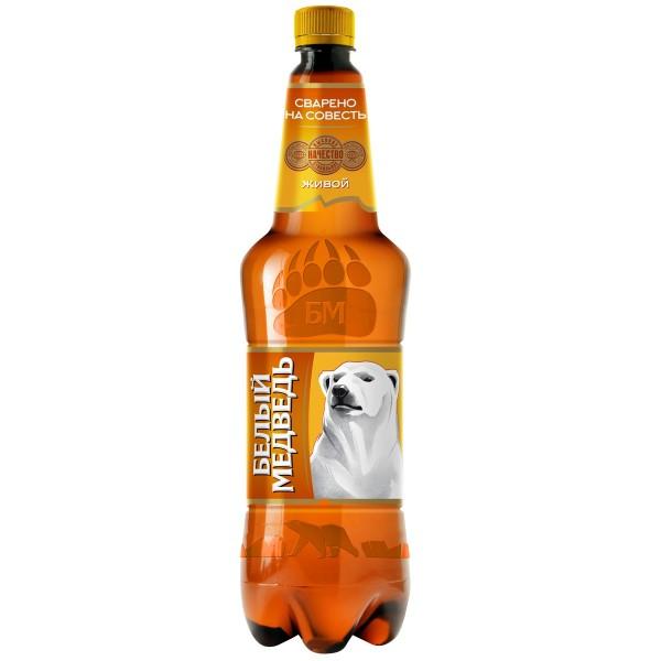 Напиток пивной Белый медведь живой 4,5% 1,3л