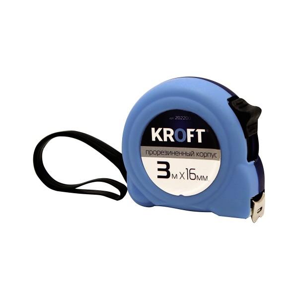 Рулетка с прорезиненным корпусом Kroft 3*16мм