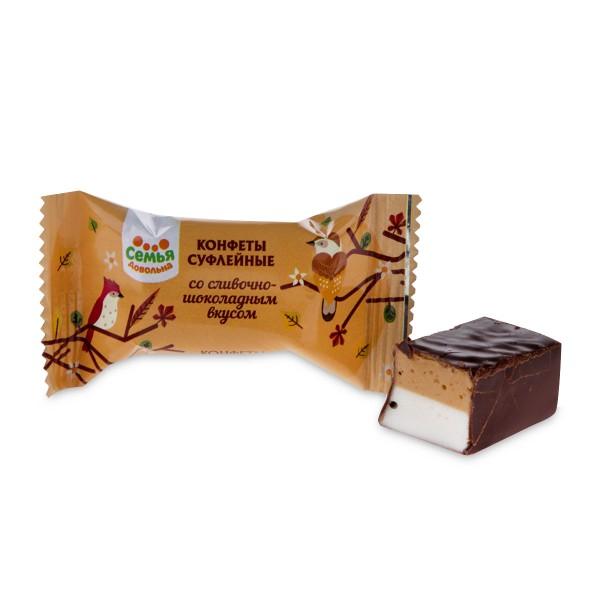Конфеты суфлейные Семья довольна со сливочно-шоколадным вкусом