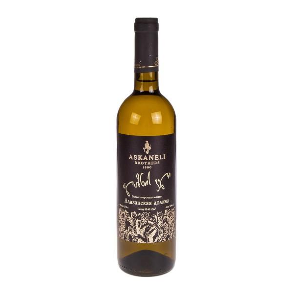 Вино столовое белое полусладкое Алазанская Долина Askaneli 12%  0,75л