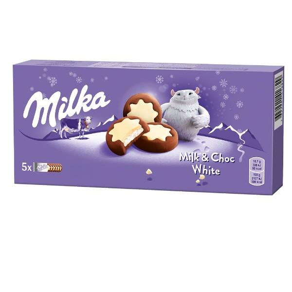 Печенье Milka с молочной начинкой и какао в белой глазури 187гр