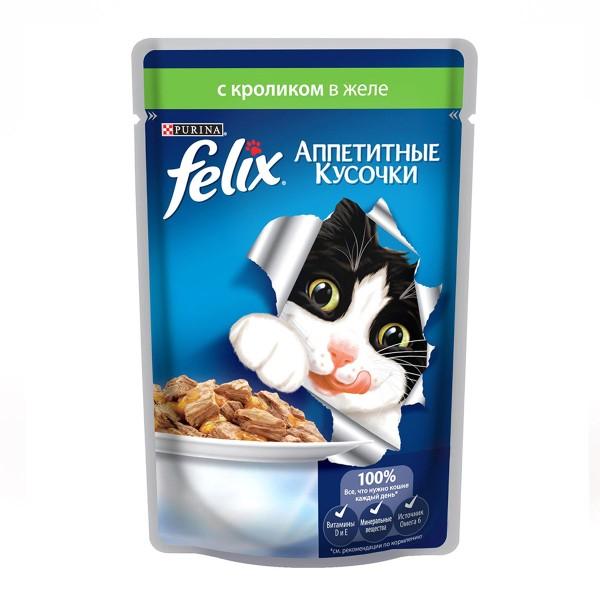 Корм для кошек Аппетитные кусочки Felix 85гр с кроликом