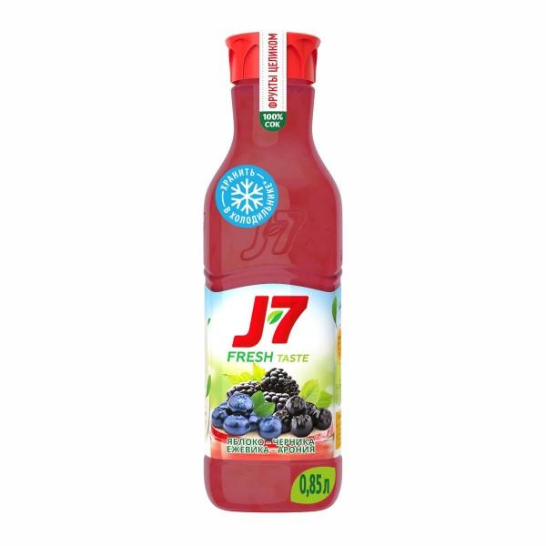 Сок охлажденный J-7 Фрукты целиком 0,85л яблоко-черника-арония-ежевика