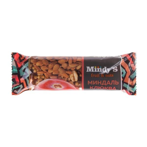 Батончик ореховый Mindy's 35гр миндаль-клюква