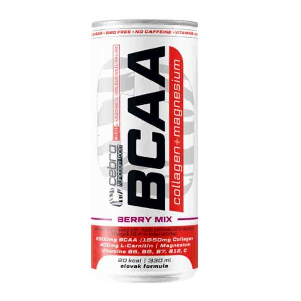 Напиток безалкогольный слабогазированный витаминизированный BCAA Cebra Collagen+Mg 330мл berry mix