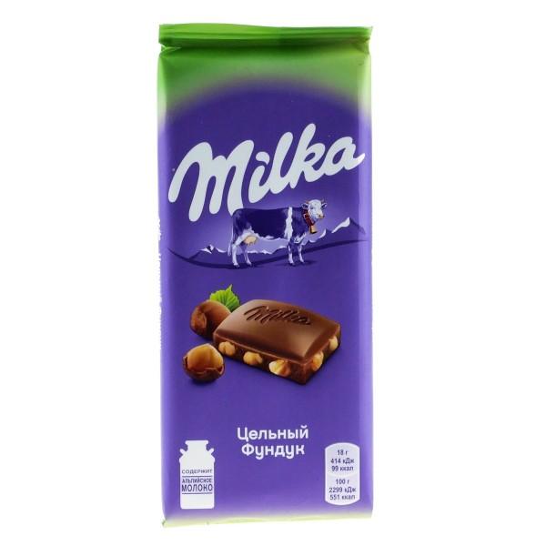 Шоколад молочный Milka 85г цельный фундук