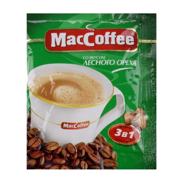 Напиток кофейный MacCoffee 3в1 18гр со вкусом лесного ореха