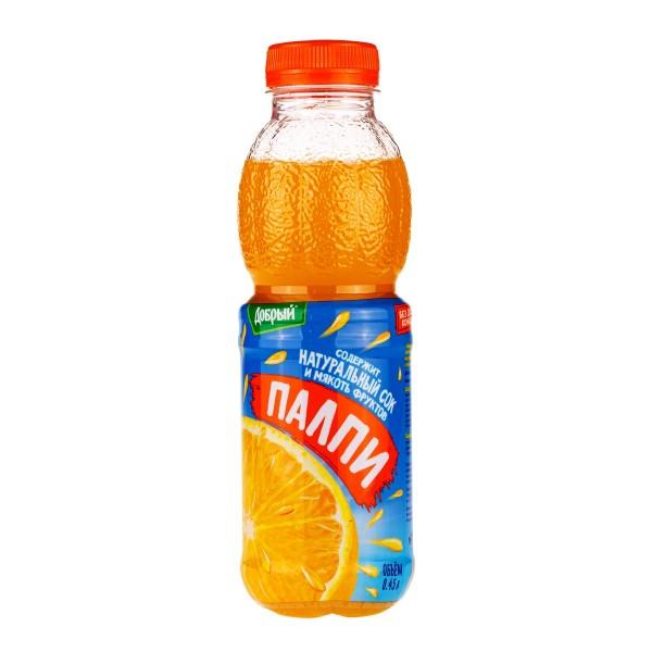 Напиток сокосодержащий Палпи Добрый 0,45л апельсин
