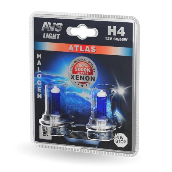 Лампа галогенная Atlas H4 55W 12V AVS 2шт
