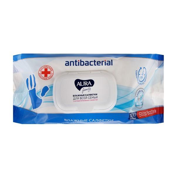 Салфетки влажные Aura Family с антибактериальным эффектом 180шт