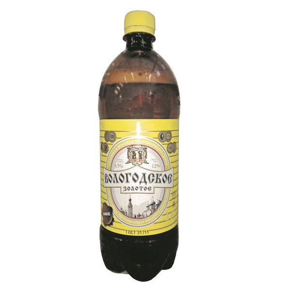 Пиво живое  Вологодское золотое 4,5% 1л