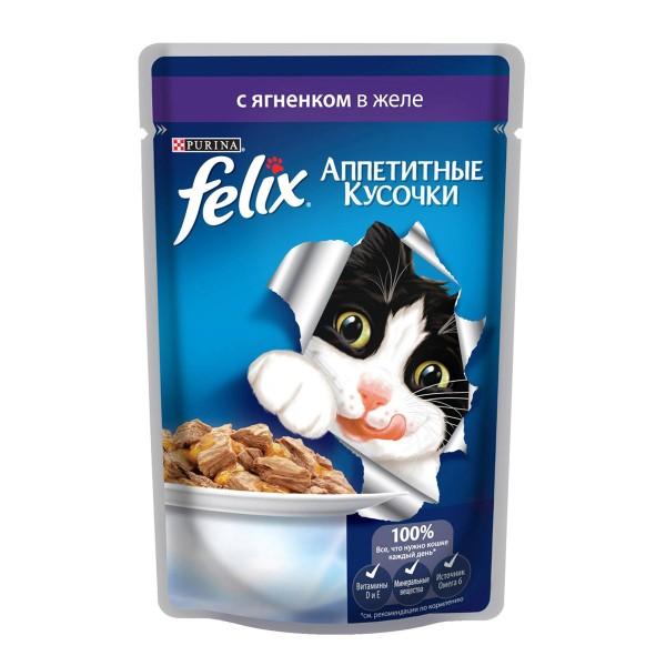 Корм для кошек Аппетитные кусочки Felix 85гр с ягненком