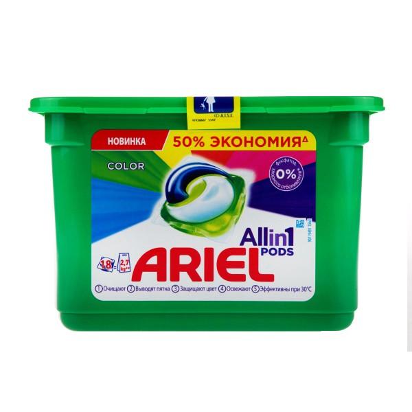 Гель для стирки в капсулах Ariel luquid capsules 18шт color