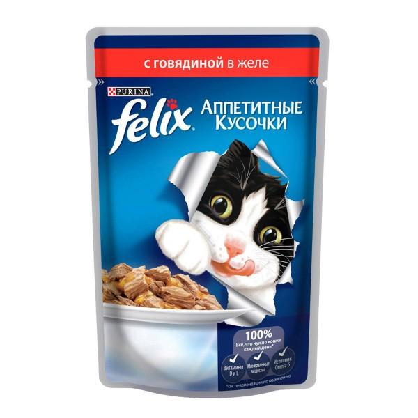 Корм для кошек Аппетитные кусочки Felix 85гр с говядиной