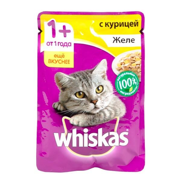 Корм для кошек Whiskas 85гр желе с курицей