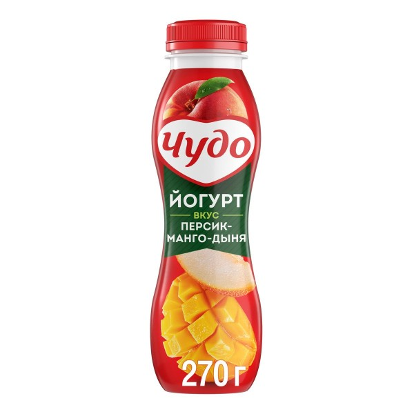 Йогурт питьевой Чудо 2,4% 270гр персик-манго-дыня БЗМЖ