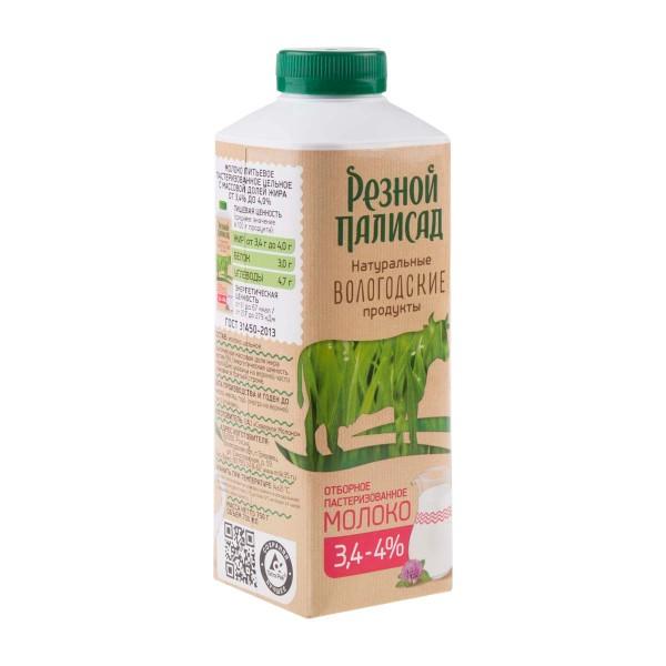 Молоко пастеризованное Резной палисад 3,4-4% 750мл БЗМЖ