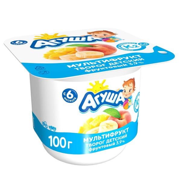 Творог фруктовый Агуша 3,9% 100гр мультифрукт БЗМЖ
