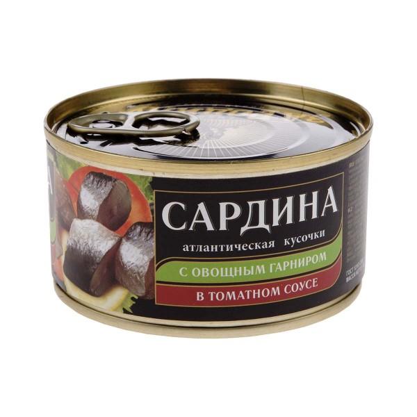 Сардина атлантическая с овощным гарниром в томатном соусе За Родину 185гр