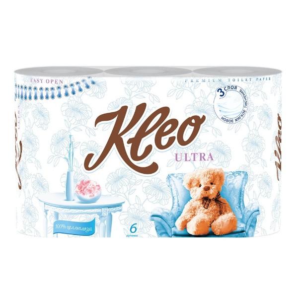 Бумага туалетная Kleo Ultra 3 слоя 6 рулонов