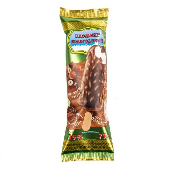 Мороженое эскимо Вологодский пломбир Айсберри шоколадное с фундуком 75гр БЗМЖ