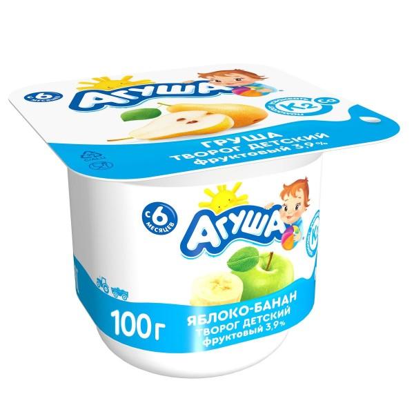 Творог фруктовый 3,9% Агуша 100гр яблоко банан БЗМЖ